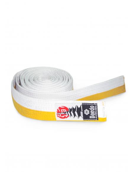 Cinturón infantil Blanco-Amarillo 240cm